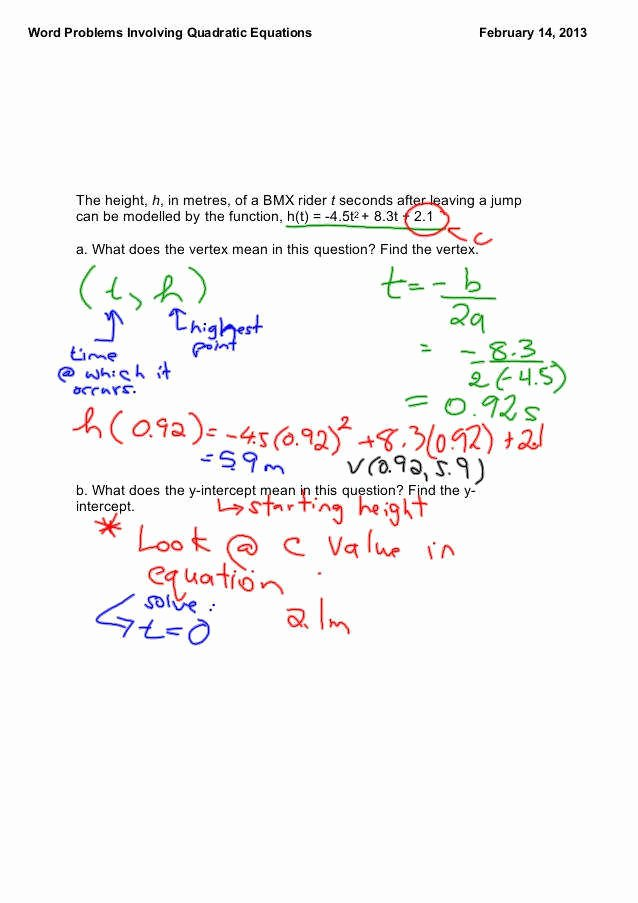Quadratic Equations Word Problems Worksheet Unique Quadratic Word Problems Worksheet