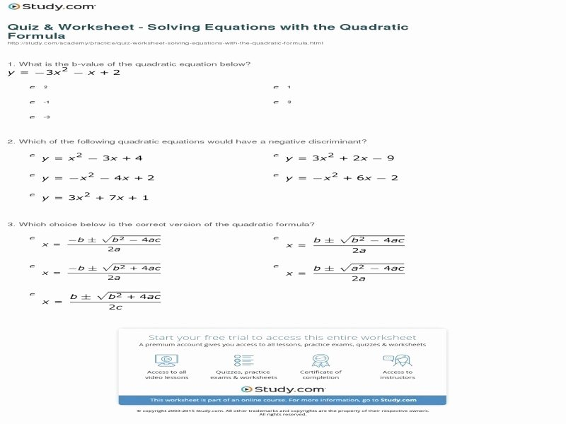 Quadratic formula Worksheet with Answers Elegant Quadratic formula Worksheet with Answers Free Printable