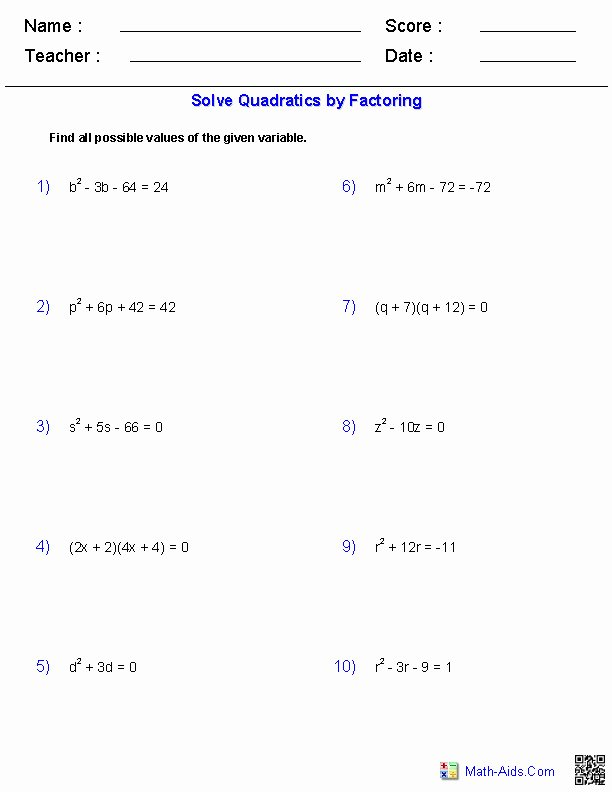Quadratic formula Worksheet with Answers Lovely solving Quadratic Equations by Factoring Worksheet Answers