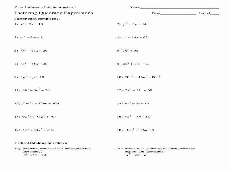 Quadratic formula Worksheet with Answers New Quadratic formula Worksheet with Answers Free Printable