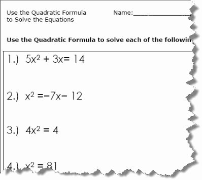 Quadratic formula Worksheet with Answers Unique Use the Quadratic formula to solve the Equations