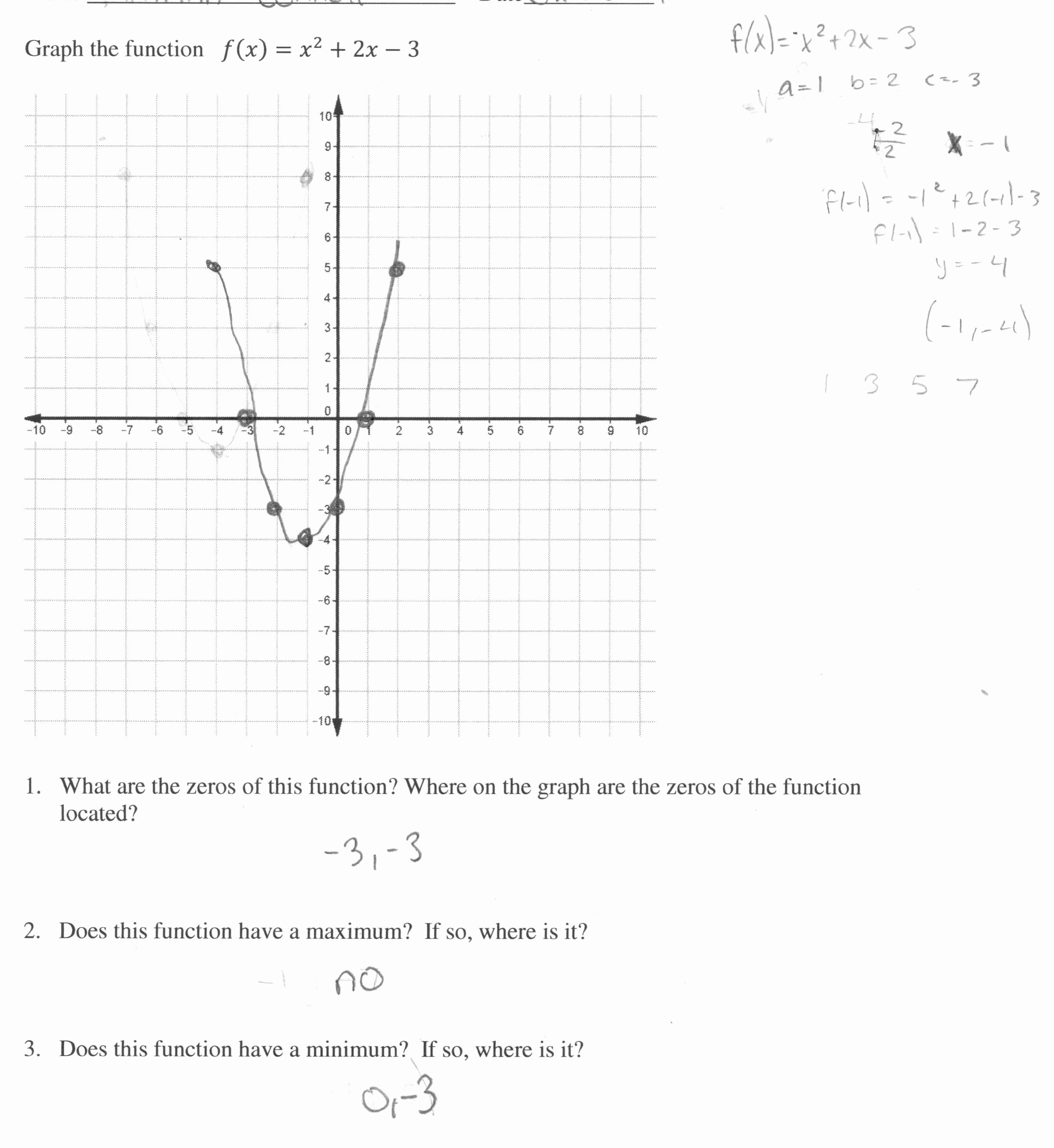 Quadratic Functions Worksheet Answers Unique Graphing A Quadratic Function