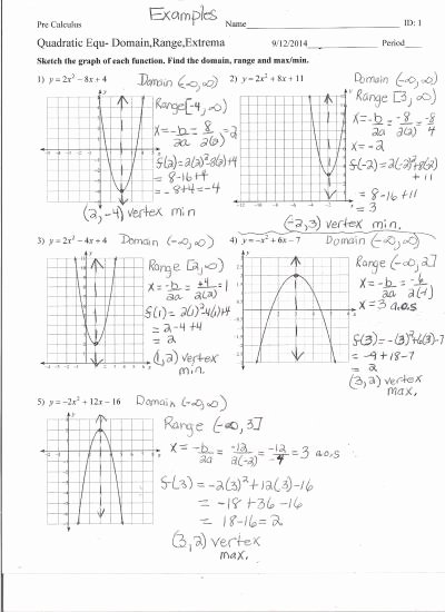 Quadratic Functions Worksheet Answers Unique Graphing Quadratic Functions Worksheet Answers the Best