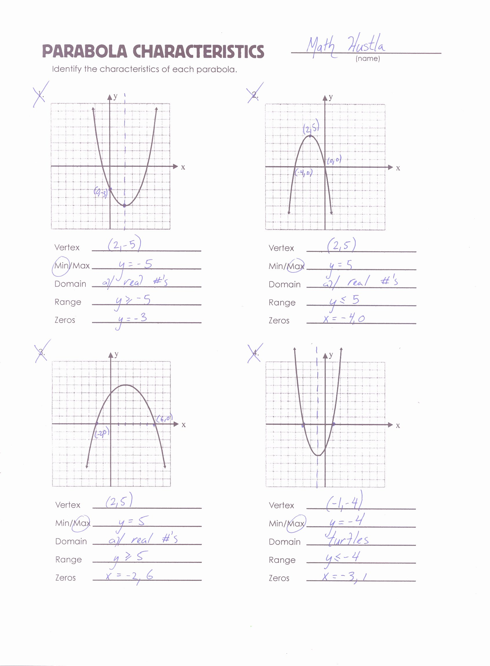 Quadratic Functions Worksheet with Answers Inspirational Algebra Mrmillermath