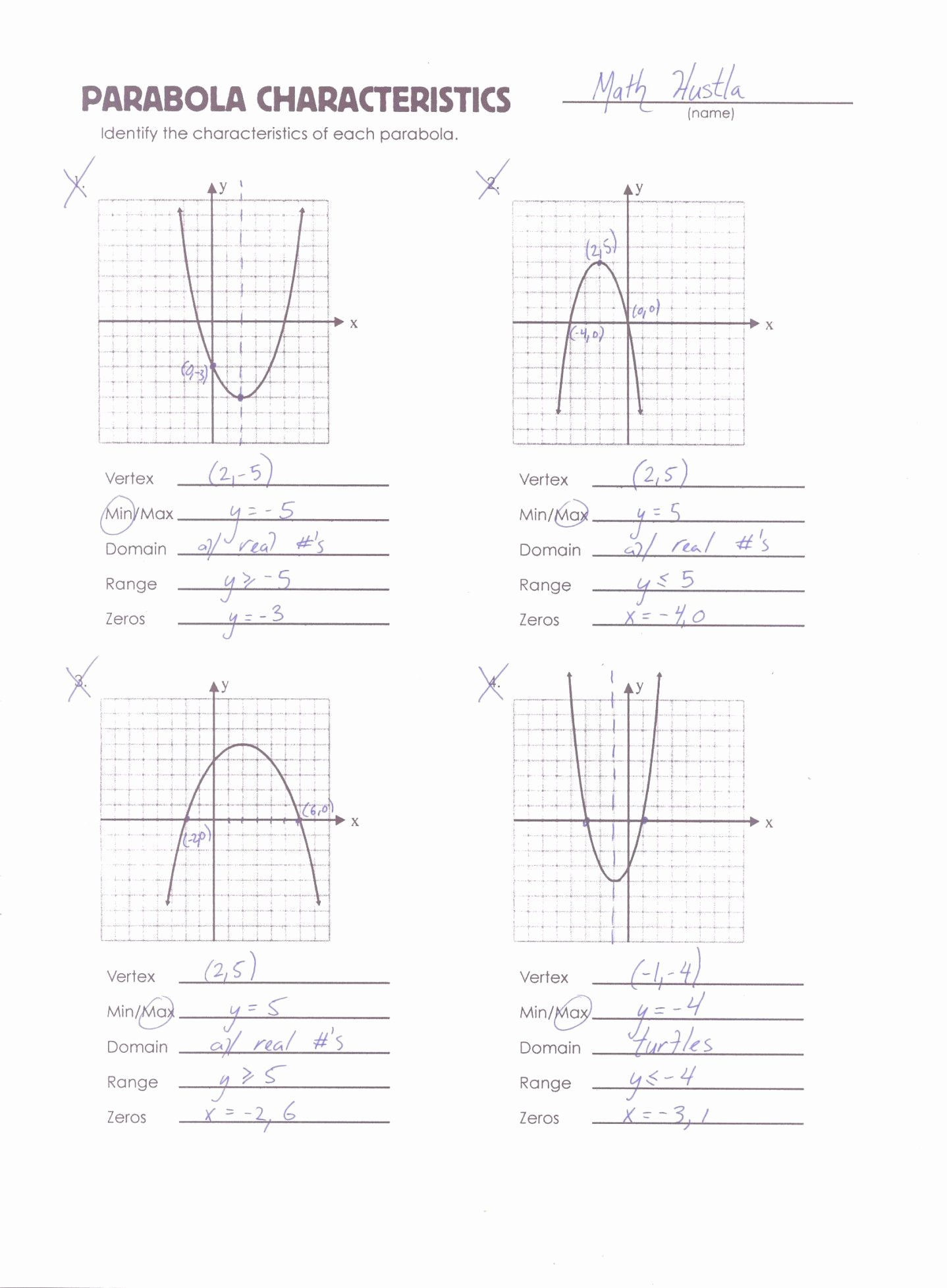 Quadratic Functions Worksheet with Answers Inspirational Graphing Quadratics Review Worksheet