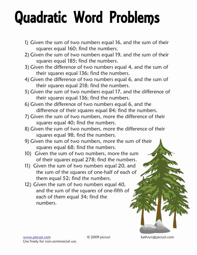 Quadratic Word Problems Worksheet Awesome Quadratic Function Homework