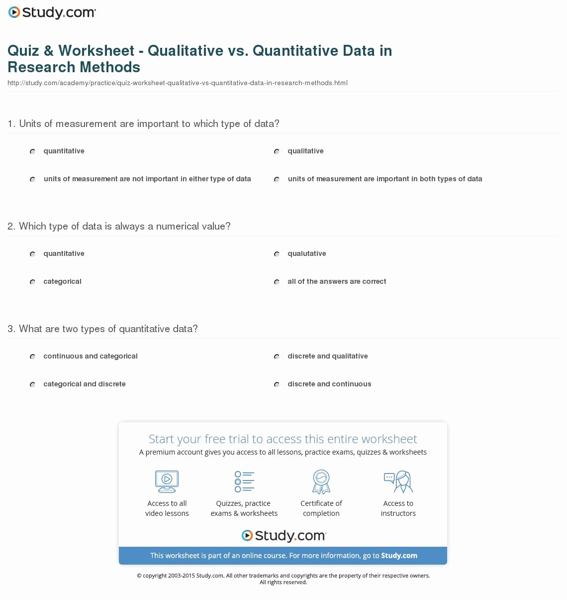 Qualitative Vs Quantitative Worksheet Fresh Quiz & Worksheet Qualitative Vs Quantitative Data In