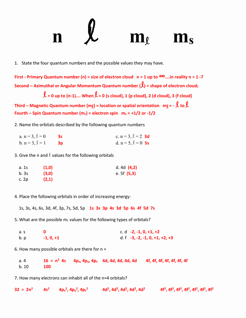 Quantum Numbers Practice Worksheet Awesome Worksheet Quantum Numbers Chemistry Geo Kids