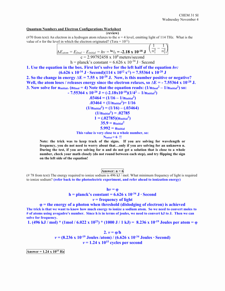 Quantum Numbers Practice Worksheet Elegant Quantum Numbers and Electron Configurations Worksheet