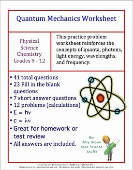 Quantum Numbers Worksheet Answers Beautiful Quantum Mechanics Worksheet Review