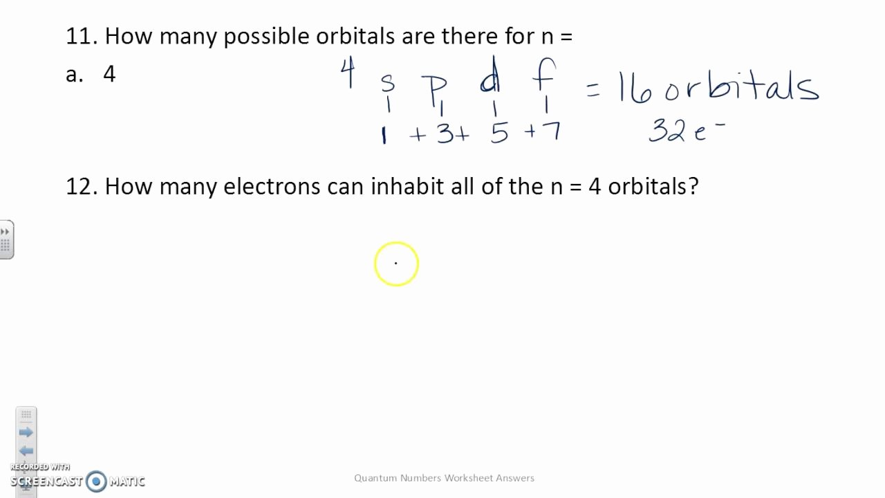 Quantum Numbers Worksheet Answers Beautiful Quantum Numbers Worksheet Answers