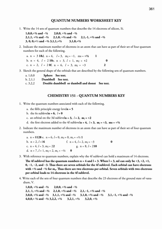 Quantum Numbers Worksheet Answers Beautiful Quantum Numbers Worksheet Key Printable Pdf