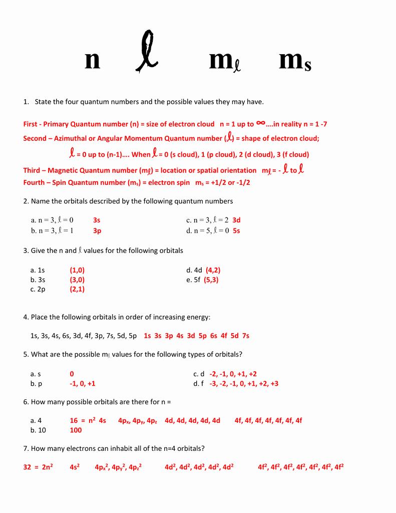 Quantum Numbers Worksheet Answers Fresh Worksheet Quantum Numbers Chemistry Geo Kids