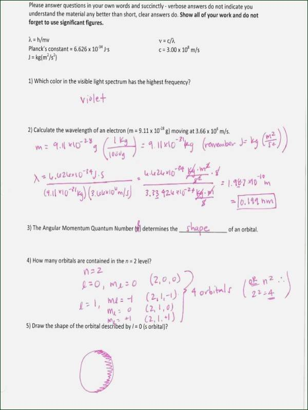 Quantum Numbers Worksheet Answers Inspirational Quantum Numbers Worksheet