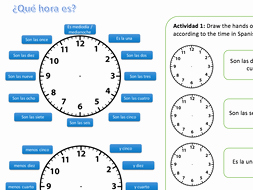 Que Hora Es Worksheet Awesome ¿qué Hora Es Spanish Ks3 Worksheet Telling the Time