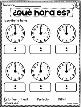 Que Hora Es Worksheet Best Of Spanish Telling Time Unit 15 ¿qué Hora Es by Spanish