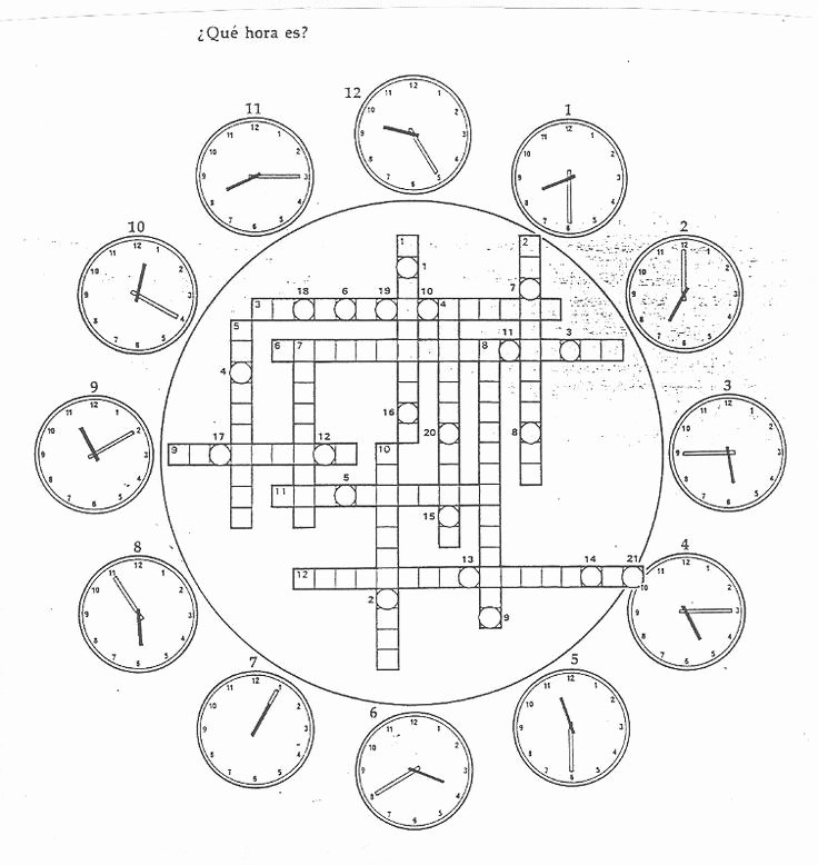 "Que Hora Es Worksheet Elegant I 7 Crucigrama ""¿qué Hora Es """