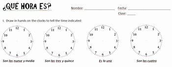 Que Hora Es Worksheet Elegant Que Hora Es Practice or Quiz Spanish 1 by Spanish Basics