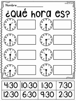 Que Hora Es Worksheet Elegant Spanish Telling Time Unit 15 ¿qué Hora Es by Spanish