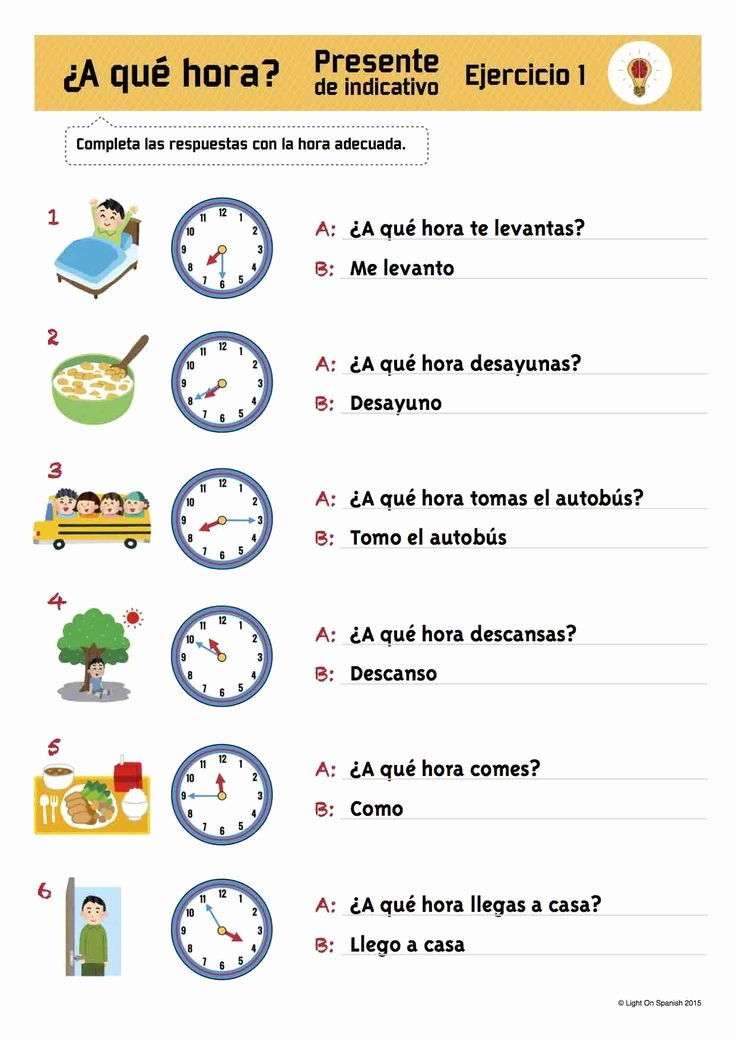 Que Hora Es Worksheet Fresh Spanish Time & Present Tense Verbs Exercises La Hora