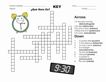 Que Hora Es Worksheet Inspirational Spanish Telling Time Crossword ¿qué Hora Es by Senora