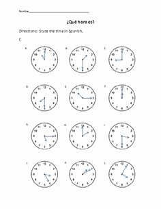 Que Hora Es Worksheet New 1000 Images About Que Hora Es On Pinterest