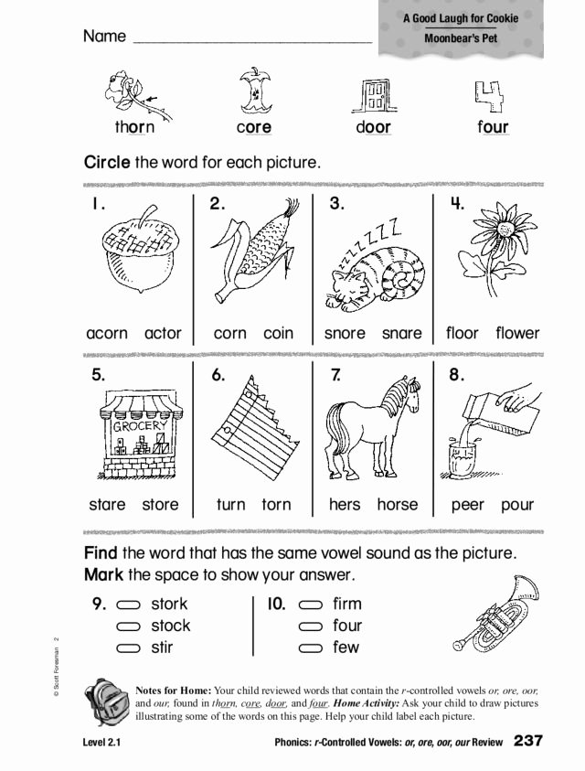 R Controlled Vowels Worksheet Awesome Phonics R Controlled Vowels or ore Oor Our Worksheet