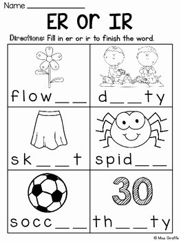 R Controlled Vowels Worksheet Beautiful R Controlled Vowels Worksheets by Miss Giraffe
