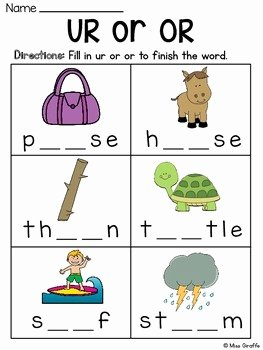 R Controlled Vowels Worksheet Best Of R Controlled Vowels Worksheets by Miss Giraffe