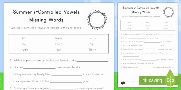 R Controlled Vowels Worksheet Elegant Summer R Controlled Vowels Worksheet Worksheet Summer