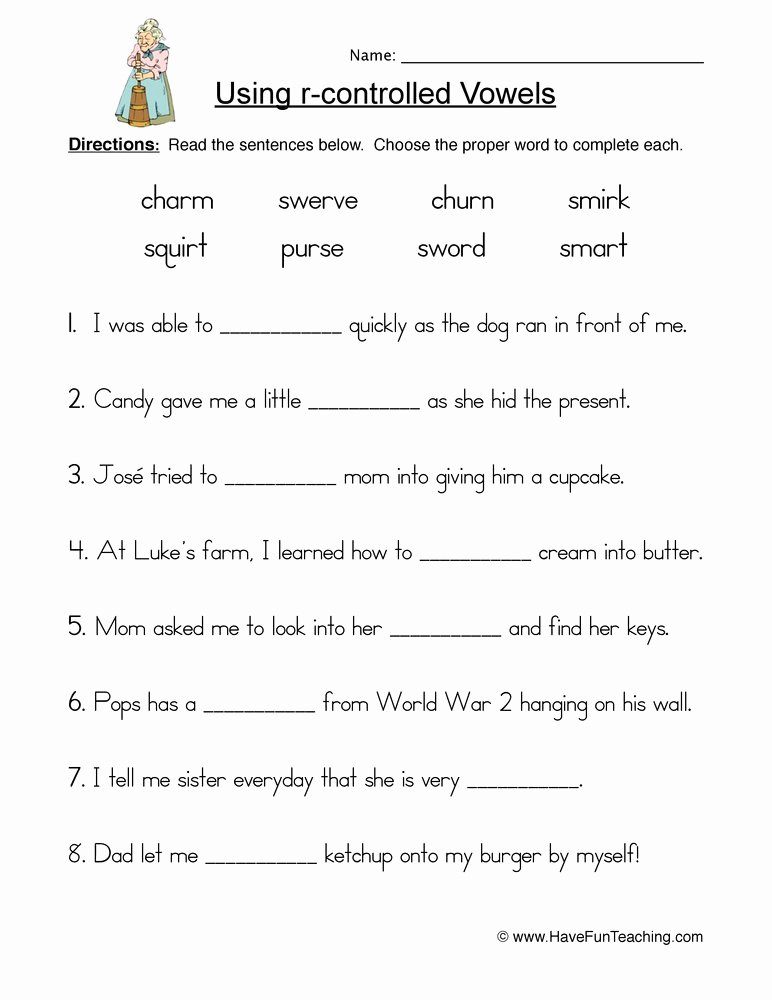 R Controlled Vowels Worksheet Inspirational R Controlled Vowels Worksheet 1
