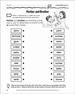 R Controlled Vowels Worksheet Luxury Mother and Brother R Controlled Vowel Er