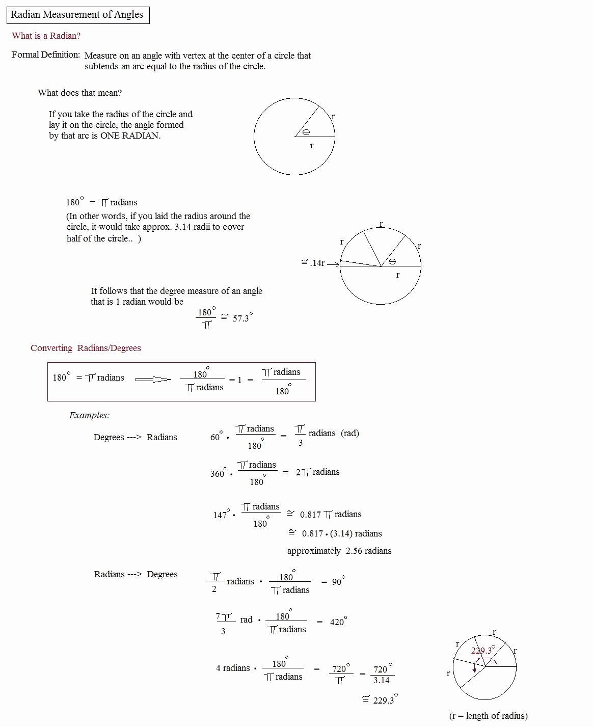 Radians to Degrees Worksheet Luxury Math Plane Angle Measurement
