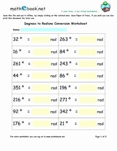 Radians to Degrees Worksheet Unique Degrees to Radians Conversion Worksheet 5th 6th Grade