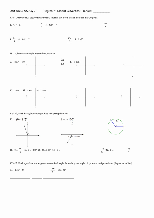 Radians to Degrees Worksheet Unique Degrees V Radians Conversions Worksheet Template