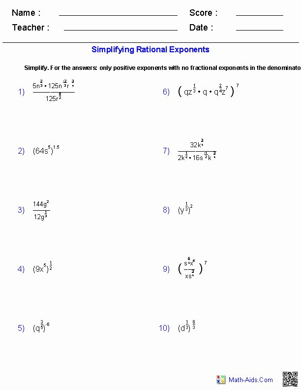 Radical and Rational Exponents Worksheet Beautiful Simplify Expressions Worksheet