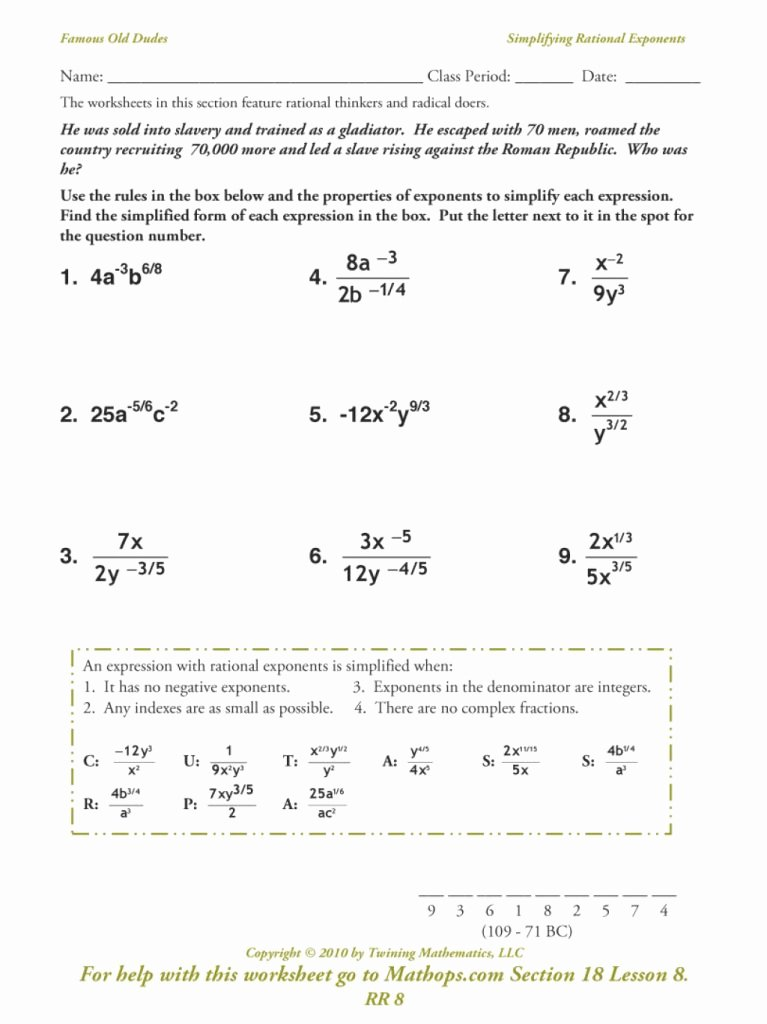 Radical and Rational Exponents Worksheet Best Of Downloadable Template Of Rr Simplifying Rational Exponents