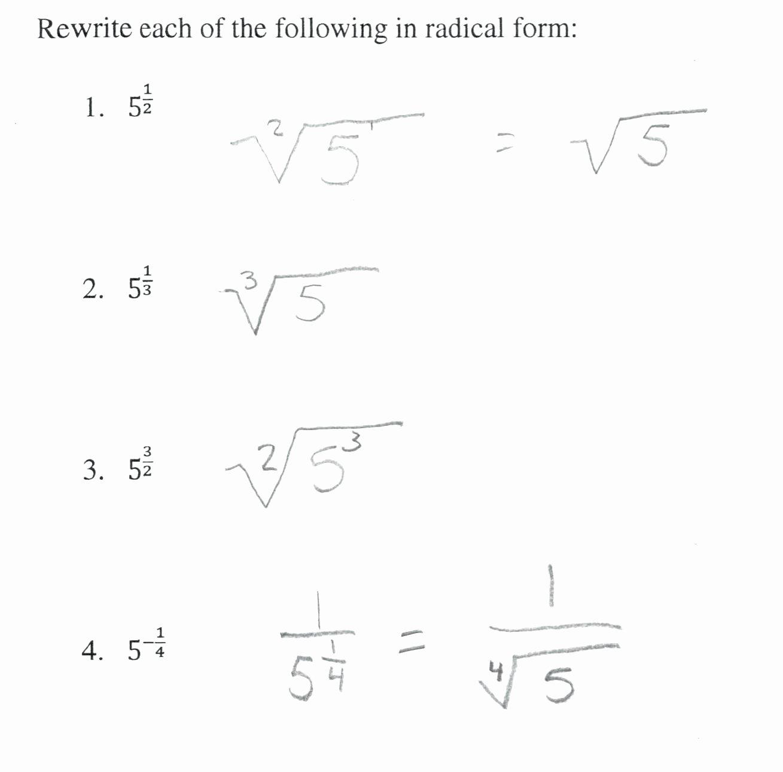 Radical and Rational Exponents Worksheet Fresh Radicals and Rational Exponents Worksheet Funresearcher