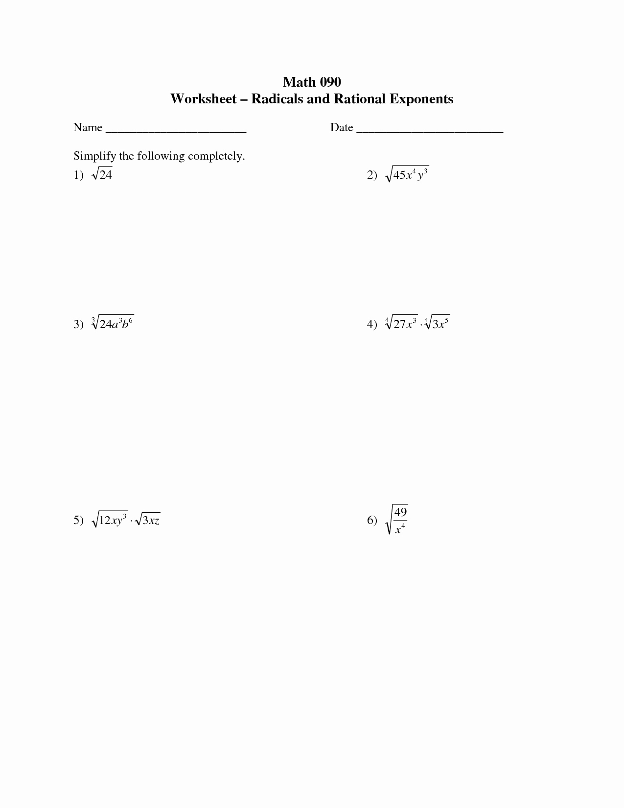 Radical and Rational Exponents Worksheet Inspirational 17 Best Of Algebra 1 Radicals Worksheet 7th Grade