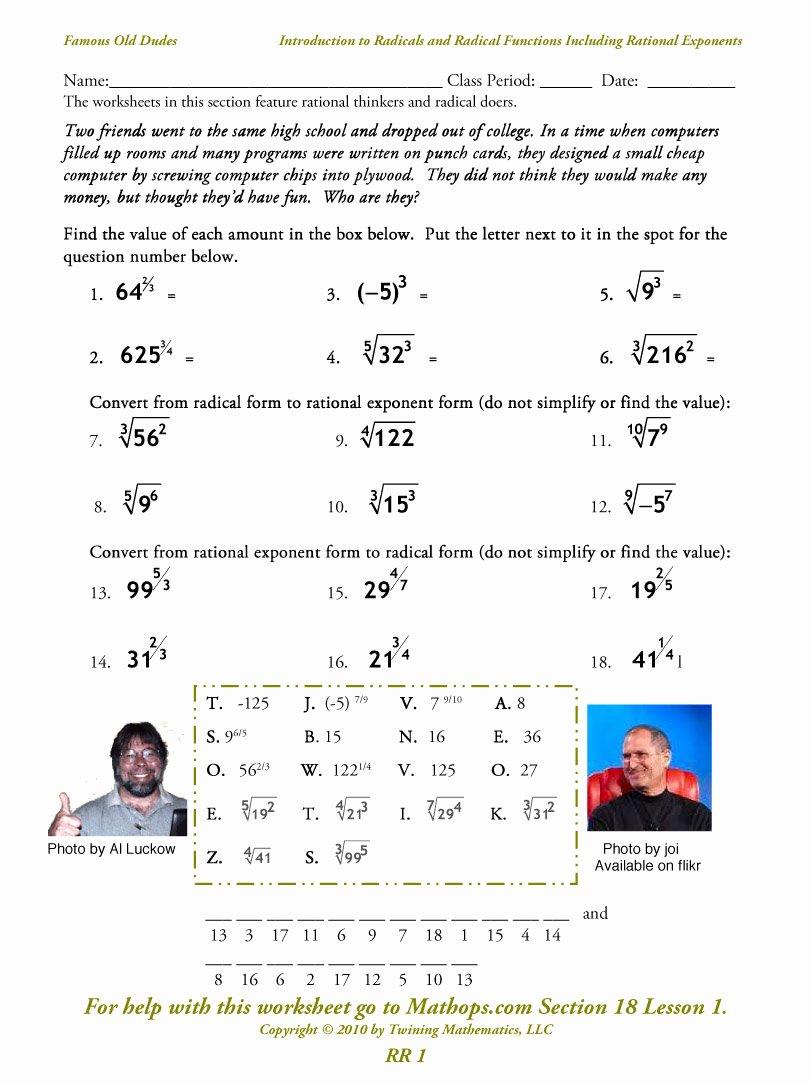 Radical and Rational Exponents Worksheet Inspirational Rr 1 Introduction to Radicals and Radical Functions