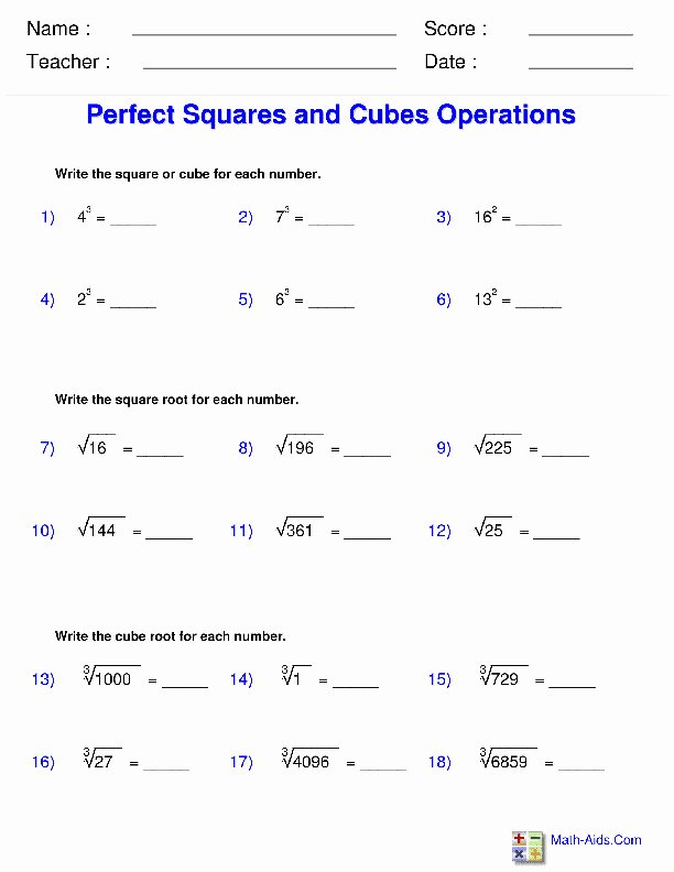 Radical and Rational Exponents Worksheet Lovely Perfect Squares Worksheet