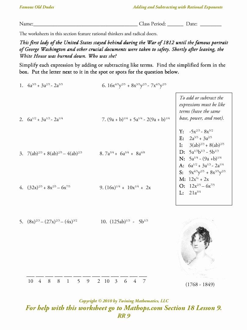 Radical and Rational Exponents Worksheet Lovely Radicals and Rational Exponents Worksheet Funresearcher