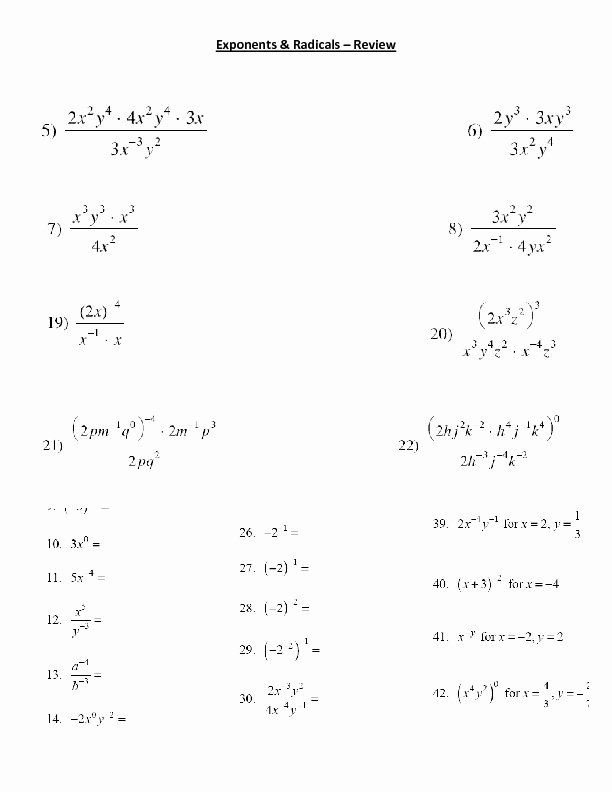 Radical and Rational Exponents Worksheet Luxury Exponents and Radicals Review Worksheet for 9th 11th
