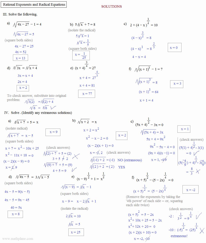 Radical and Rational Exponents Worksheet Luxury Math Plane Rational Exponents and Radical Equations