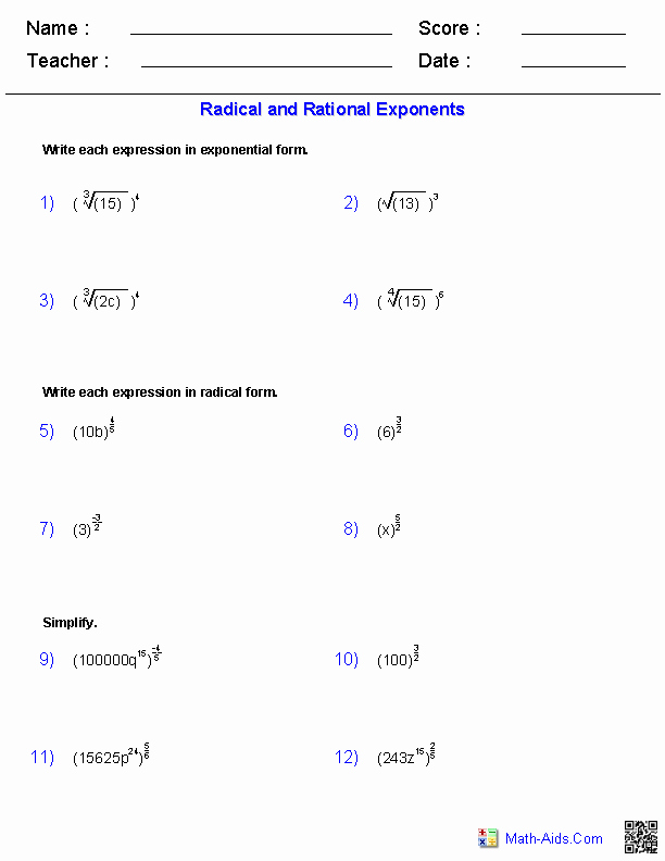 Radical and Rational Exponents Worksheet New Algebra 2 Worksheets