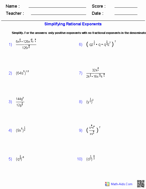 Radical and Rational Exponents Worksheet Unique Algebra 2 Worksheets