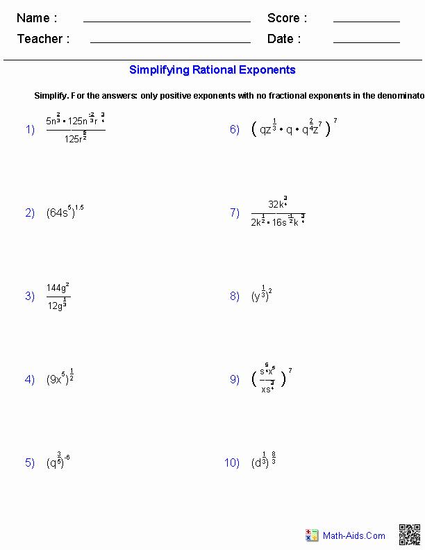 Radical and Rational Exponents Worksheet Unique Algebra 2 Worksheets