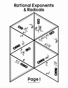 Radical and Rational Exponents Worksheet Unique Rational Exponents & Radicals Puzzle by Lisa Davenport