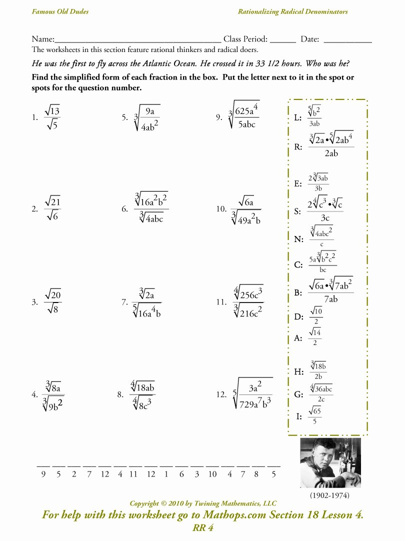 Radicals and Rational Exponents Worksheet Awesome Rr 4 Rationalizing Radical Denominators Mathops