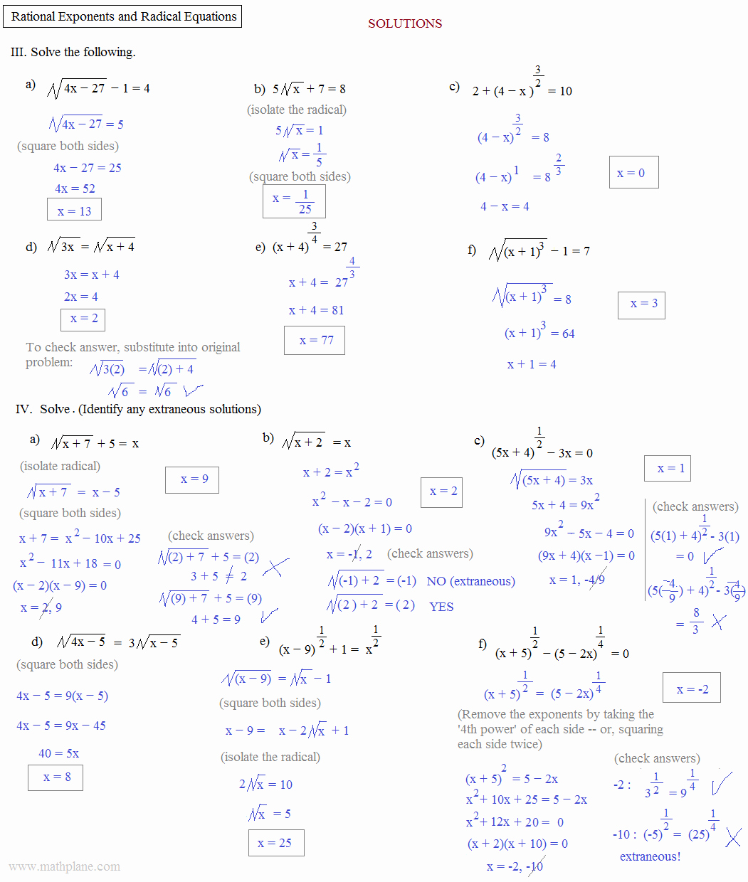 Radicals and Rational Exponents Worksheet Elegant Math Plane Rational Exponents and Radical Equations